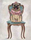 Pug Princess on Chair by Fab Funky art print