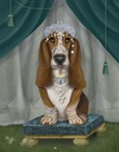 Basset Hound and Tiara by Fab Funky art print