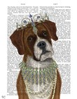 Boxer and Tiara, Portrait by Fab Funky art print