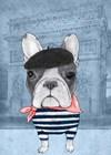 French Bulldog with Arc de Triomphe by Barruf art print