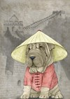 Shar Pei with the Great Wall by Barruf art print