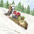Dog Days of Christmas III Sledding by Tara Reed art print