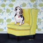Beagle on Yellow by Carol Dillon art print
