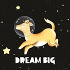 Dream Big Astronaut Dog by Seven Trees Design art print