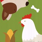 Farm Group: Hen and Dog by Yuko Lau art print
