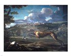Pace, Michelangelo, Greyhound, rabbit, and the Castle of Ariccia art print
