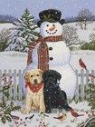 Backyard Snowman with Friends by William Vanderdasson art print