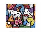 Happy Cat and Snob Dog by Romero Britto art print