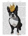 Boston Terrier And Crown by Fab Funky art print