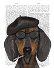 Hipster Dachshund Black and Tan by Fab Funky art print