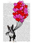 Boston Terrier And Balloons by Fab Funky art print