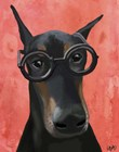 Doberman With Glasses by Fab Funky art print