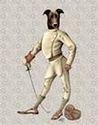 Greyhound Fencer in Cream Full by Fab Funky art print