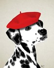Dalmatian With Red Beret by Fab Funky art print