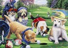 Golfing Puppies by Jenny Newland art print