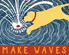 Make Waves Yellow Wbanner by Stephen Huneck art print