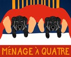 Menage A Quatre Black Black by Stephen Huneck art print