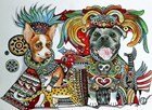 Chihuahua and Pitbull in Mexico by Oxana Zaika art print