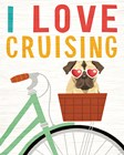 Beach Bums Pug Bicycle I Love by Michael Mullan art print