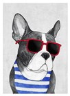 Frenchie Summer Style by Barruf art print
