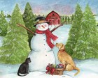 Snowman Dog And Cat Farm Horizontal by Melinda Hipsher art print