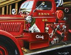 Dalmation Christmas Firetruck by Paul Walsh art print