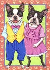 Boston Terrier Couple by Tomoyo Pitcher art print