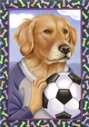 Golden Retriever Soccer Ball by Tomoyo Pitcher art print