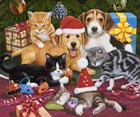 Christmas Meeting - Kittens and Puppies by William Vanderdasson art print
