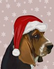 Basset Hound, Christmas Hat by Fab Funky art print