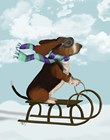 Basset Hound, Sledging by Fab Funky art print