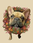 French Bulldog, Cranberry Wreath by Fab Funky art print