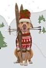 Pitbull Skiing by Fab Funky art print