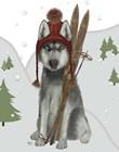 Husky Skiing by Fab Funky art print