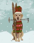 Yellow Labrador, Skiing by Fab Funky art print