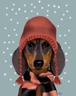 Dachshund With Woolly Hat & Scarf by Fab Funky art print