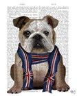 English Bulldog with Scarf by Fab Funky art print