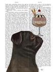 Pug, Black, Ice Cream by Fab Funky art print