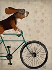 Basset Hound on Bicycle by Fab Funky art print
