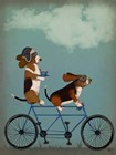 Basset Hound Tandem by Fab Funky art print