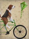 Beagle on Bicycle by Fab Funky art print