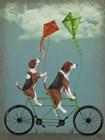 Beagle Tandem by Fab Funky art print