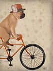 French Bulldog on Bicycle by Fab Funky art print