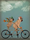 French Bulldog Tandem by Fab Funky art print