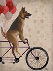 German Shepherd on Bicycle by Fab Funky art print