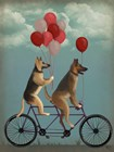 German Shepherd Tandem by Fab Funky art print