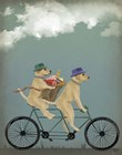 Yellow Labrador Tandem by Fab Funky art print