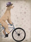 Poodle on Bicycle, Cream by Fab Funky art print