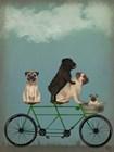 Pug Tandem by Fab Funky art print