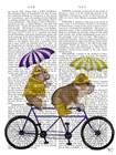 English Bulldog Tandem by Fab Funky art print